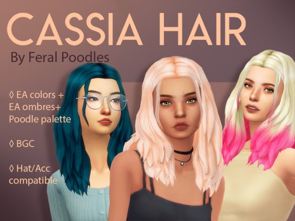The Sims Resource: Cassia hair recolored by feralpoodles for Sims 4