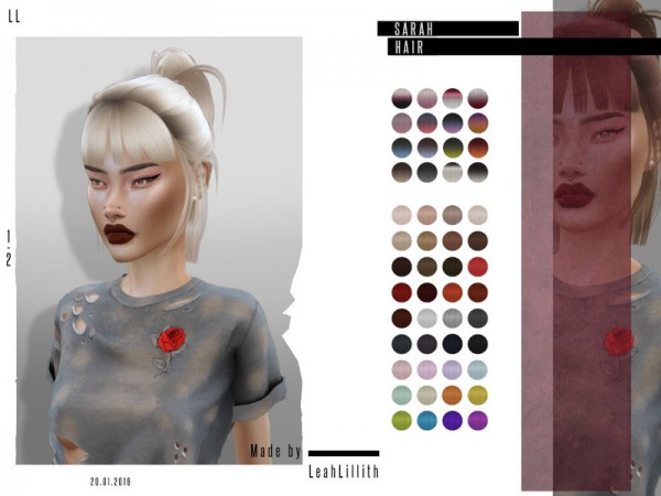 The Sims Resource: Sarah Hair by LeahLillith for Sims 4