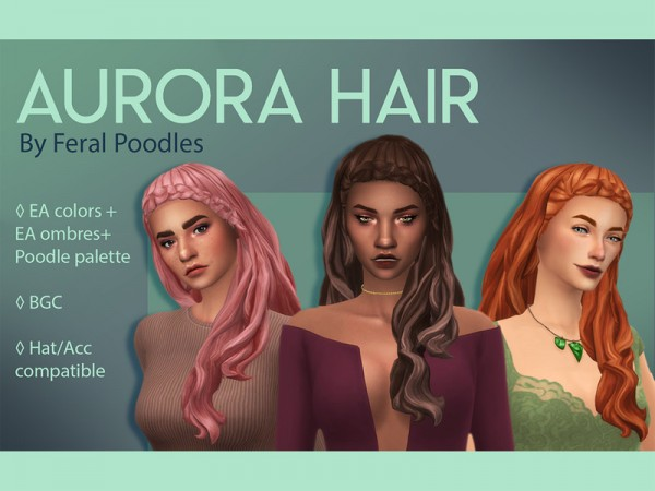 The Sims Resource: Aurora Hair retextured by feralpoodles for Sims 4