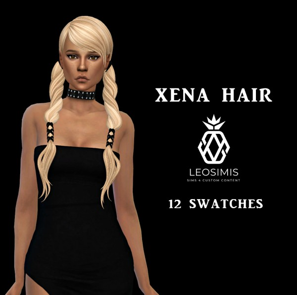 Leo 4 Sims: Xena Hair recolored for Sims 4