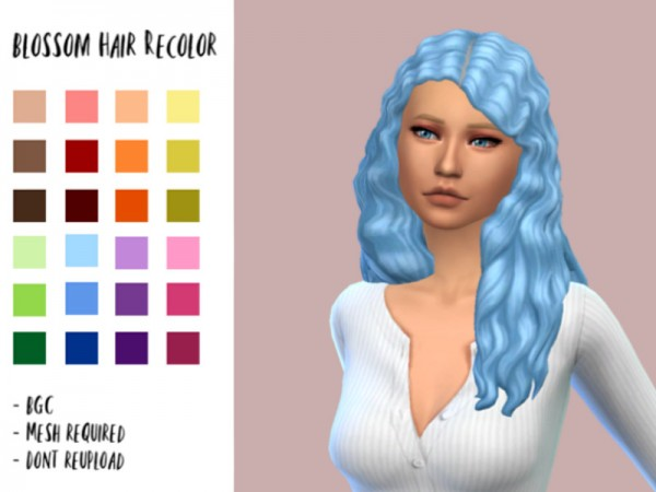 The Sims Resource: Blossom Hair recolored by bixow2002 for Sims 4
