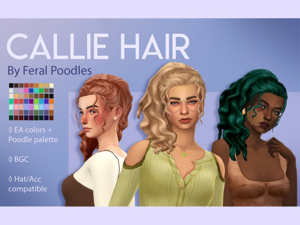 The Sims Resource: Callie Hair retextured by feralpoodles for Sims 4