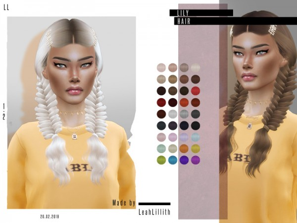 The Sims Resource: Lily Hair by LeahLillith for Sims 4