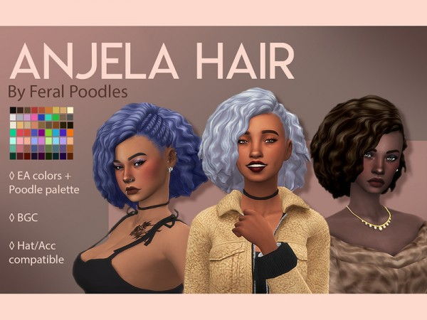 The Sims Resource: Anjela Hair Retextured by feralpoodles for Sims 4