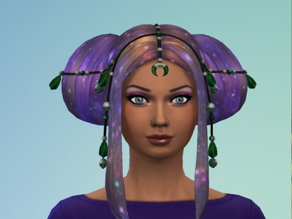The Sims Resource: Galactic Buns Hair retextured by JujuAwesomeBeans for Sims 4