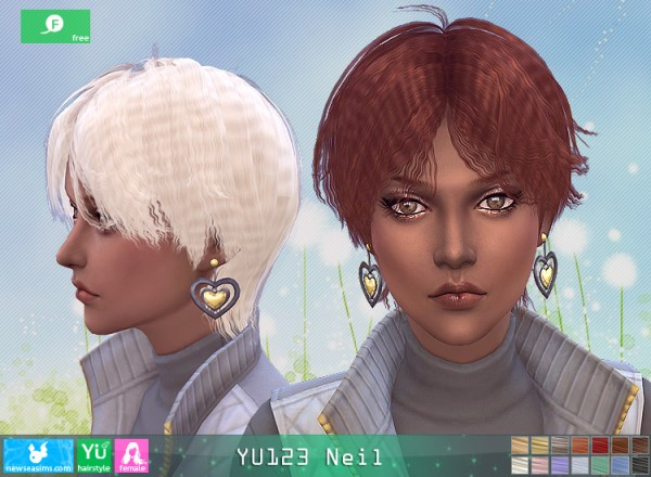 NewSea: YU123 Nail Hair for her for Sims 4