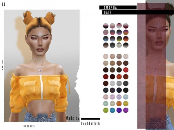 The Sims Resource: Amanda Hair by Leah Lillith for Sims 4