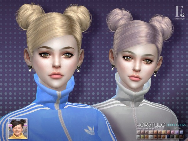 The Sims Resource: Double buns n42 hair by S Club for Sims 4
