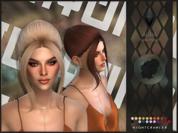 The Sims Resource: Aura Hair by Nightcrawler Sims for Sims 4