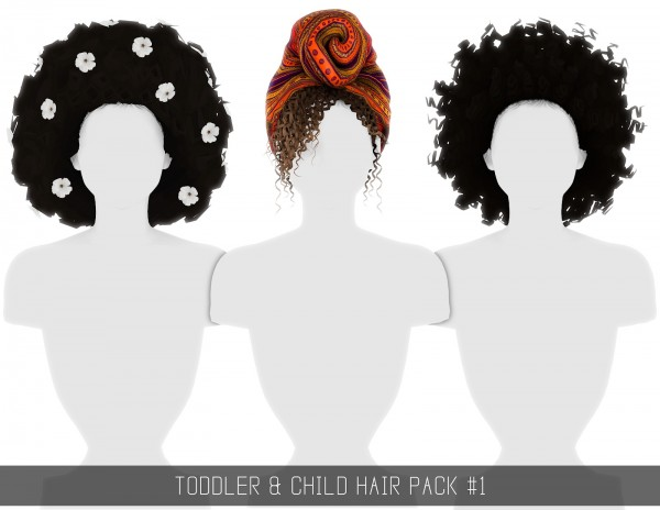 Simpliciaty: Toddler and Child Hair Pack 1 for Sims 4