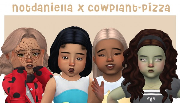 Cowplant Pizza: Collab hair retextured for Sims 4