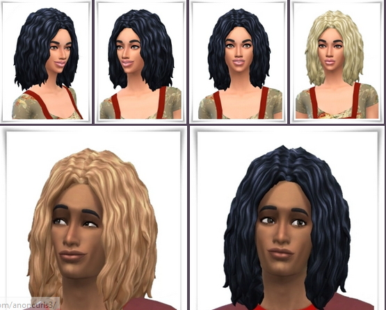 Birksches sims blog: Anon Curls hair for Sims 4
