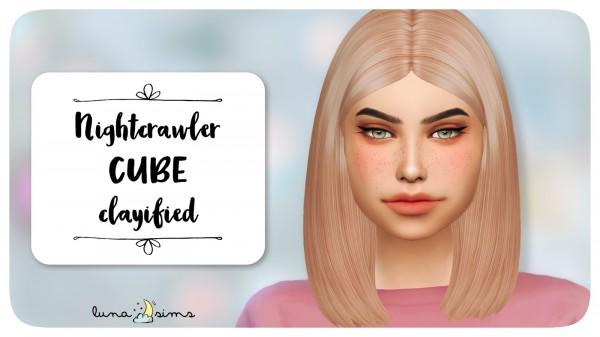Luna Sims: Nightcrawler`s Cube hair retextured for Sims 4