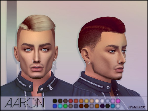 The Sims Resource: Aaron Hair by Mathcope for Sims 4