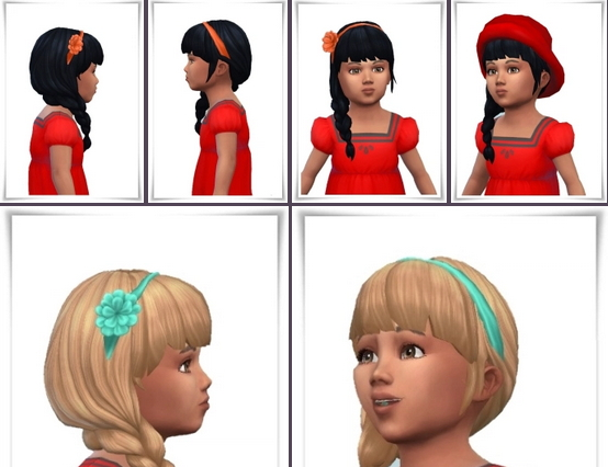 Birksches sims blog: Band Flower Side Braid Hair for toddler for Sims 4