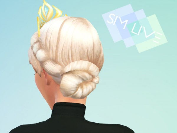 The Sims Resource: Elsa Coronation Hair Retextured by KikiSimLive for Sims 4