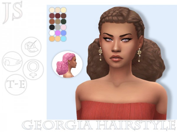The Sims Resource: Georgia Hair Retextured by JavaSims for Sims 4