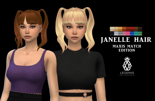 Leo 4 Sims: Janelle Hair recolored for Sims 4