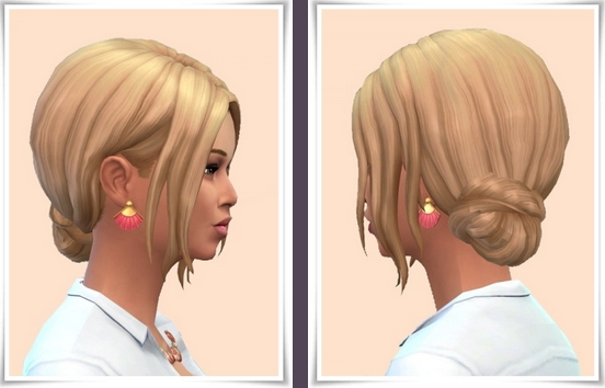 Birksches sims blog: Teased Side Bun Hair for Sims 4