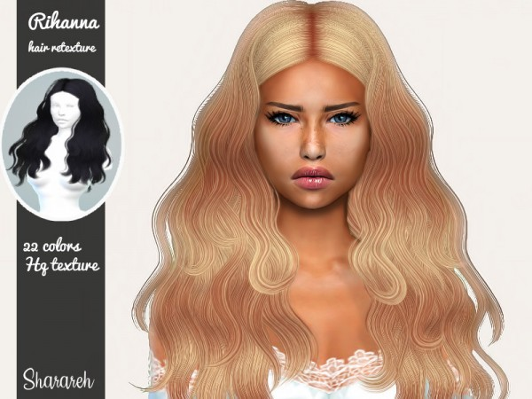 The Sims Resource: Rihanna hair retextured by Sharareh for Sims 4