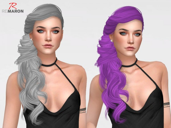 The Sims Resource: Persephone Hair Retextured by Remaron for Sims 4