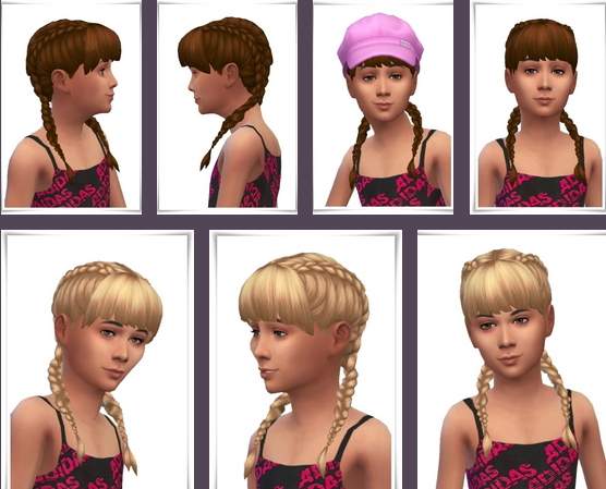 Birksches sims blog: Girls Double Braids for Sims 4