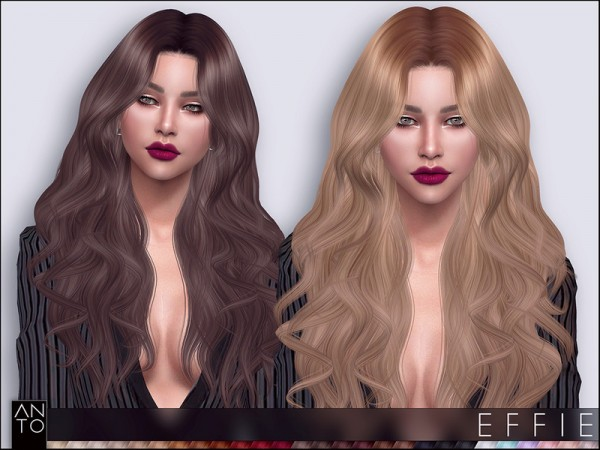 The Sims Resource: Effie hair by Anto for Sims 4