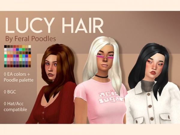 The Sims Resource: Lucy Hair by feralpoodles for Sims 4