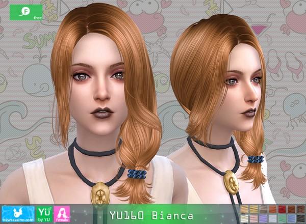 NewSea: YU160 Bianca hair for Sims 4