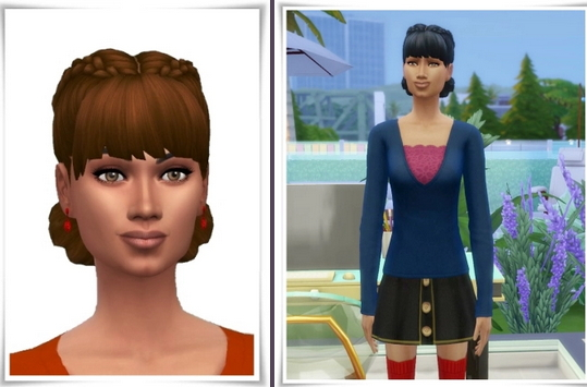 Birksches sims blog: Bangs Double Braids Hair for Sims 4