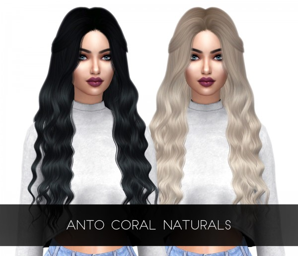 Kenzar Sims: Coral Hair Natural Retextured for Sims 4
