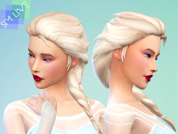The Sims Resource: Elsa Braided Hair Maxis Match by KikiSimLive for Sims 4