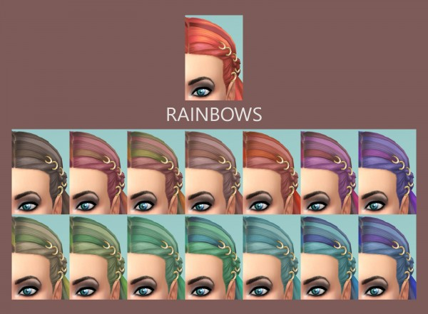 Mod The Sims: Braids with Rings Hair Recolored by Simmiller for Sims 4