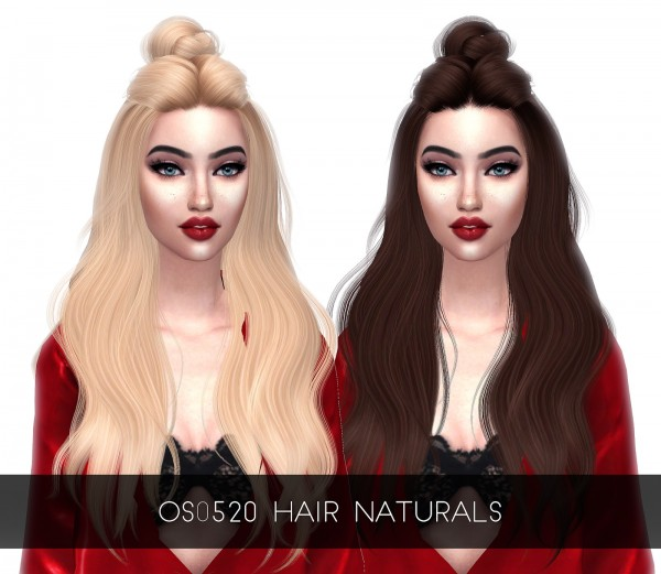 Kenzar Sims: Wings`s OS 0520 Naturals Hair Retextured for Sims 4