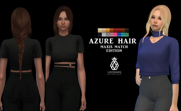 Leo 4 Sims: Azure Hair MM for Sims 4