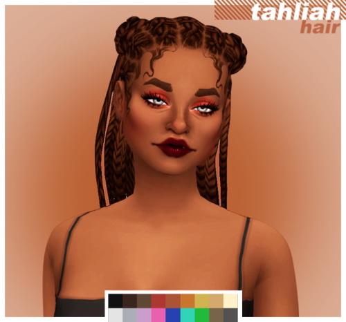 Cowconuts: Tahliah hair retextured for Sims 4