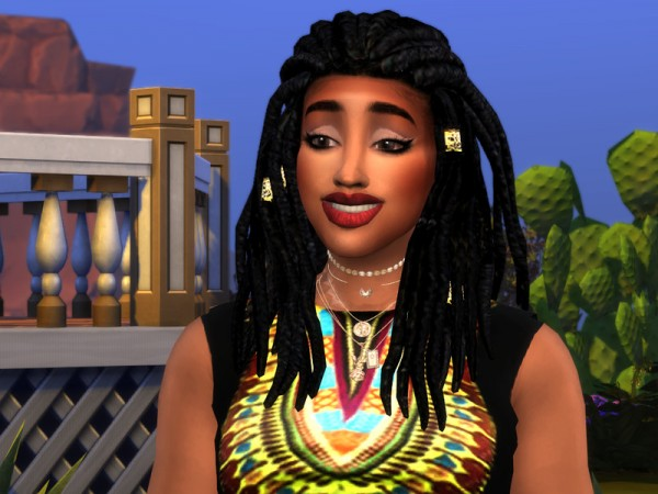 The Sims Resource: StrangeVille Dreads Hair Retextured by drteekaycee for Sims 4