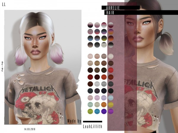 The Sims Resource: Aurelie Hair by Leah Lillith for Sims 4