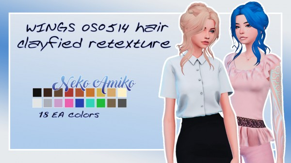 Neko Amiko: WINGS OS0514 hair retextured for Sims 4