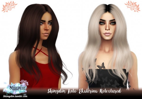 Shimydim: Anto`s Eketarina Hair Retextured for Sims 4