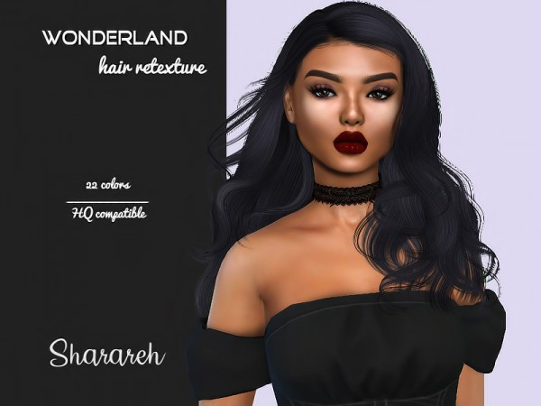 The Sims Resource: Simpliciaty`s Wonderland hair retextured by Sharareh for Sims 4