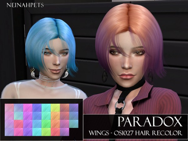 The Sims Resource: Paradox   WINGS OS1027 Hair Recolored by neinahpets for Sims 4