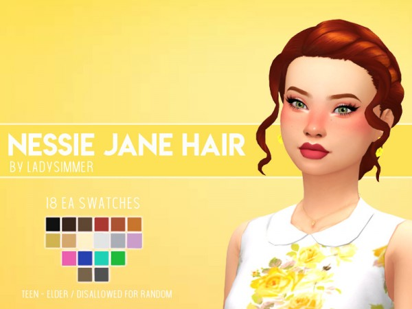 The Sims Resource: Nessie Jane Hair Retextured by LadySimmer94 for Sims 4