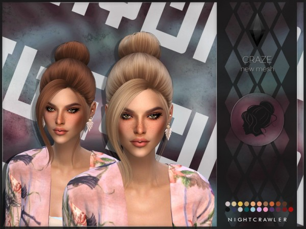 The Sims Resource: Craze Hair by Nightcrawler Sims for Sims 4