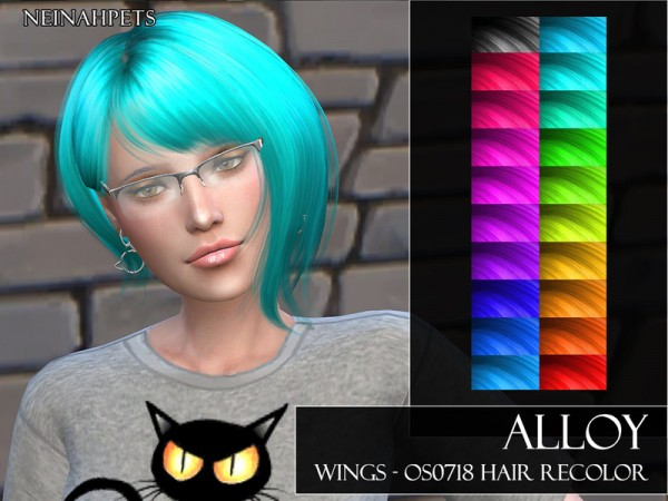 The Sims Resource: WINGS OS0718 Hair Recolor by neinahpets for Sims 4