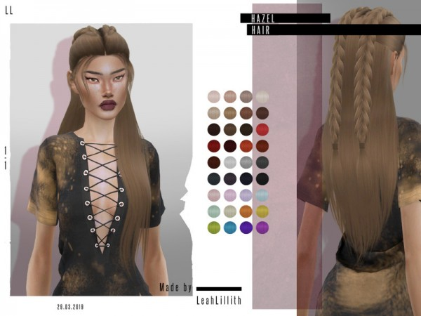 The Sims Resource: Hazel Hair by Leah Lillith for Sims 4