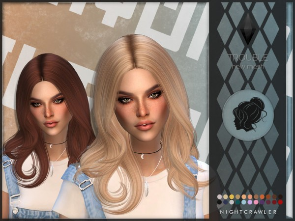 The Sims Resource: Trouble Hair by Nightcrawler Sims for Sims 4