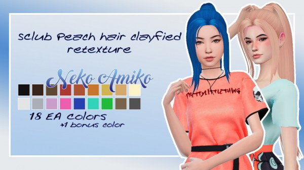 Neko Amiko: SClub`s Peach hair retextured for Sims 4