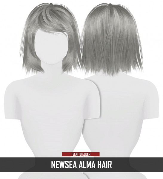 Coupure Electrique: Newsea`s Alma Hair Retextured for Sims 4