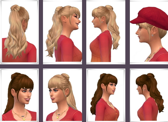 Birksches sims blog: CurlyPonytail female for Sims 4